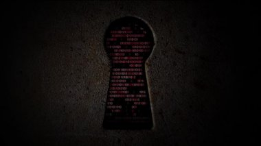 Computer binary code through the keyhole — Stock Video