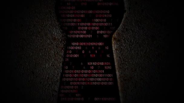 Computer binary code through the keyhole — Vidéo