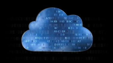 Cloud computing made with hex code concept. Flow of information to the cloud — Stock Video
