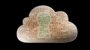 Cloud computing made with binary code concept. Flow of information to the cloud — Stock Video