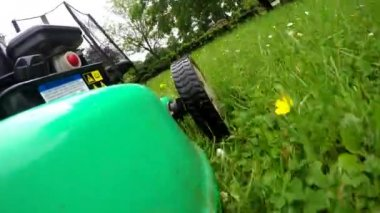 Side view of a mower. lawn mower — Stock Video