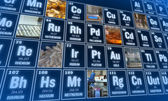 Periodic table of elements and laboratory tools. Science concept. — Stock Photo