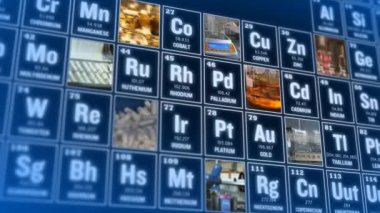 Periodic table of elements and laboratory tools. Science concept. — Stock Video