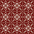 White-on-red floral pattern seamless background — Stok fotoğraf #54855455