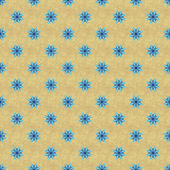 Bblue seamless star pattern on yellow ochre textured background — Stock Photo