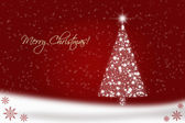 Red Christmas card with Christmas tree — Stock Photo