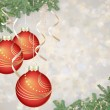 Red Christmas balls over silver background — Stock Photo #57932889