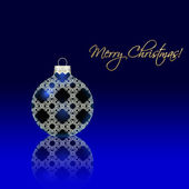 Christmas ball with reflection on blue — 图库照片