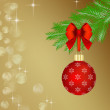 Red Christmas ball on fir tree branch — Stock Photo #58807455