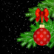 Red Christmas decorations on fir tree — Stock Photo #58807463