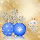 Christmas ornaments on golden background — Stock Photo