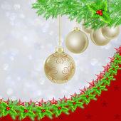 Golden Christmas balls over Christmas lights — Stock Photo