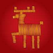 Embroidered deer — Stock Vector