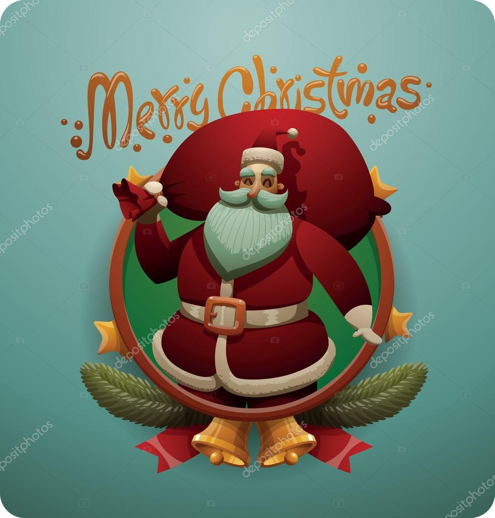 Christmas card, Cute Santa Claus with red bag — Stock Vector ...