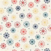 Seamless pattern with flowers in warm colors — Stock Vector