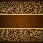 Card with gold floral ornament on brown grunge background — Vector de stock