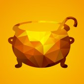 Witch cauldron of triangles — Vector de stock