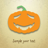 Halloween greeting card with sad pumpkin — Stock Vector