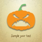 Halloween greeting card with scary pumpkin — Stock vektor