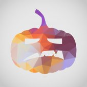 Halloween greeting card with angry pumpkin — Stock Vector