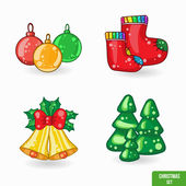 Set of Christmas cartoon icons — Stock Vector