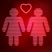 Neon icon lesbian couple in love — Stockvector