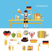 Retro Octoberfest Symbols Beer Alcohol Accessories Icons Set Trendy Modern Flat Design Template Vector Illustration — Stock Vector