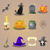 Halloween accessories and characters icons set vector illustration — Stock Vector