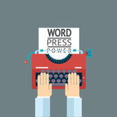 Word Power Mass Media Symbol Press Hand Typewriter Journalist Icon on Stylish Background Modern Flat Design Template Vector Illustration — ストックベクタ