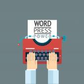 Word Power Mass Media Symbol Press Hand Typewriter Journalist Icon on Stylish Background Modern Flat Design Template Vector Illustration — Stock Vector