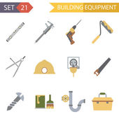 Retro Flat Building Equipment Icons and Construction Tools Symbols Set Vector Illustration — Stock Vector