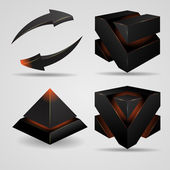Geometric abstract futuristic gloomy gothic pyramid and cube rotating arrows vector illustration — Wektor stockowy