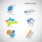 Abstract 3d logo set arrows house gears ladder balls planes vector illustration — Stock Vector