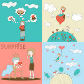 Doodle Girls and Boys Characters with Heart Landscape Clouds House Template on Stylish Background Modern Design Vector Illustration — Stock Vector