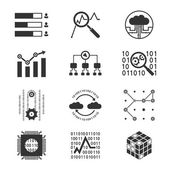 Data analytic silhouette icons — Stock Vector