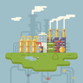 Retro Flat Factory Refinery Plant Manufacturing Products Processing Natural Resources with Distribution Network Pipes Concept Vector Illustration — Stock vektor