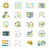Processing Storage of Large Data Volume Icons Modern Flat Design Template Vector Illustration — Stock vektor