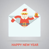 Santa claus with goftbox greeting card design concept letter mail template vector illustration — Stock Vector