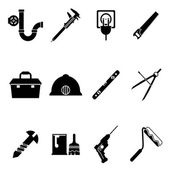 Building Equipment Icons and Construction Tools Symbols Silhouette Isolated  Set Vector Illustration — Stock Vector