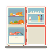 Outdoor refrigerator with food products icon trendy flat design vector illustration — Stock Vector