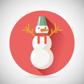 Snowman Character Icon New Year Christmas Symbol with long shadow on Stylish Background Flat Design Vector Illustration — Stock Vector