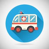 Ambulance car Icon Health Treatment Symbol  on Stylish Background Modern Flat Design Vector Illustration — Stock Vector