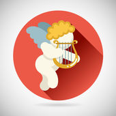 Angel Cherub Symbol Baby Boy with Harp Lira Icon on Stylish Background Modern Flat Design Vector Illustration — Stock Vector