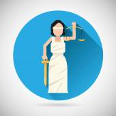 Themis Femida character with scales and sword icon law justice symbol flat vector illustration — Stock Vector