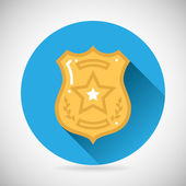 Police officer bage icon protection law order symbol on Stylish Background Modern Flat Design Vector Illustration — Vector de stock