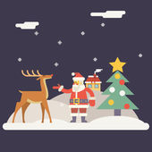 Winter Santa Claus and Rudolph Deer Characters New Year Landscape Christmas Icon Greeting Card Flat Design Vector Illustration — Stock Vector