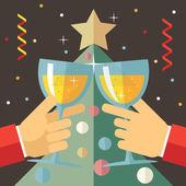 Nový rok oslava úspěchu a Prosperity Symbol ruce drží sklenice s nápojem ikonou na stylové vánoční stromeček pozadí moderní plochý Design vektorové ilustrace — Stock vektor