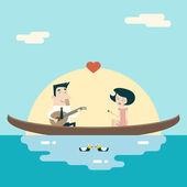 Liebe, männlich und weiblich auf Gondel Cartoon Charaktere Valentinstag Symbole Grußkarte Konzept stilvollen Rahmen flaches Design Vorlage Vektor-Illustration — Stockvektor