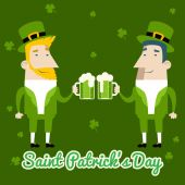 Saint Patricks Day Celebration Cartoon Characters Symbol Mug of Beer with Foam Icon on Stylish Clover Background Greeting Card Flat Design Vector Illustration — Stock Vector