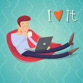 Cartoon Vintage Geek Eager Beaver Symbol Man with Laptop Drinks Coffee Tea Icon on Stylish Background Retro Design Vector Illustration — Stock Vector